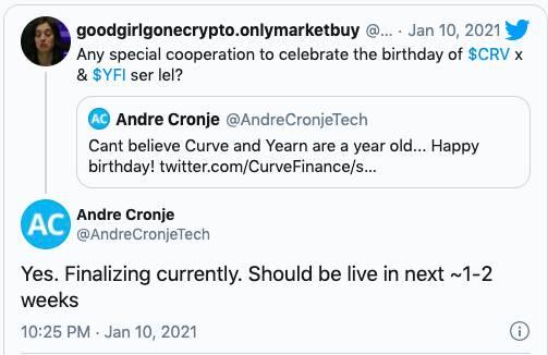 Andre Cronje:Yearn与Curve正在合作,成果未来2周内上线