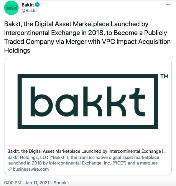 Bakkt将通过SPAC合并上市,估值达21亿美元