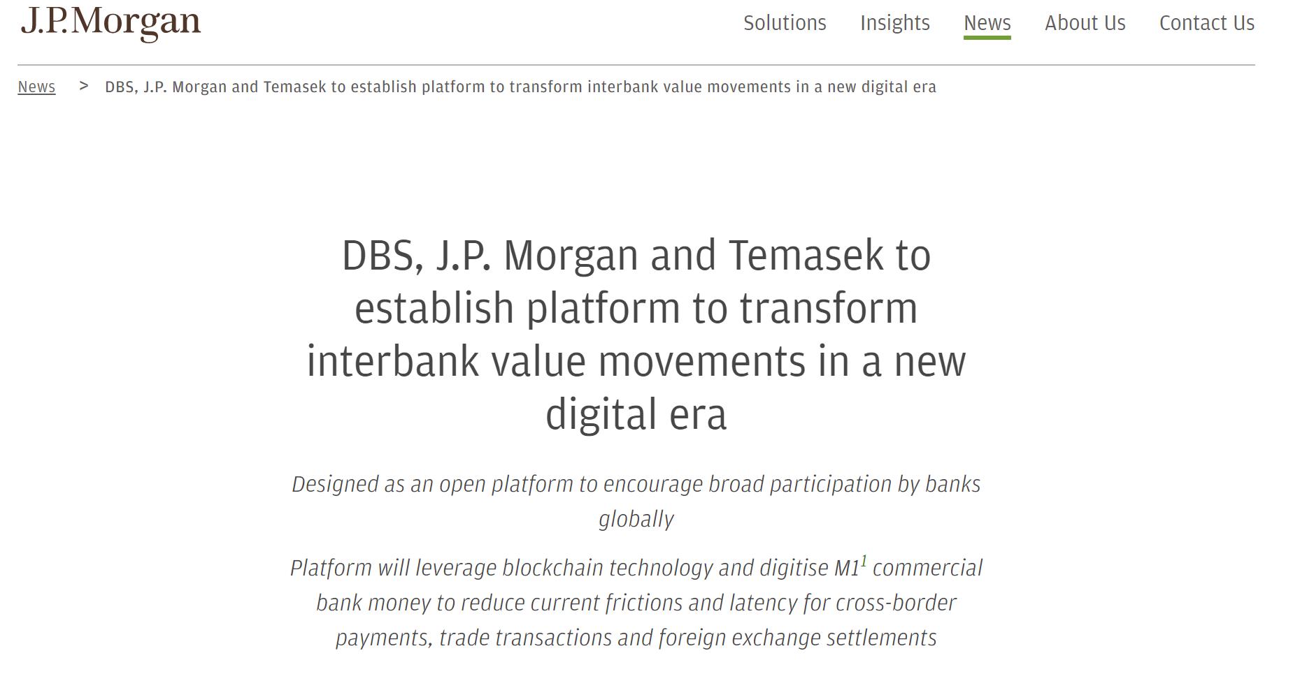 小摩携手星展、淡马锡创立区块链支付平台 吸引更多头部银行加入