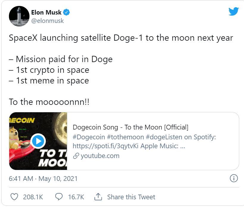 再为狗狗币带货!马斯克宣布SpaceX接受狗狗币支付,明年向月球发射狗狗一号卫星